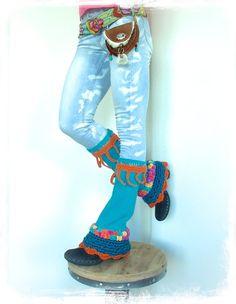 TURQUOISE PIXIE leg warmers Flared Boho Urban Leg Warmer by GPyoga