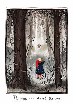 The robin who showed the way in 'The Secret Garden' illustrated by Júlia Sardà.
