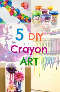 Art can be a great way for your child to express their creativity. Make your kids busy with these quick, easy, and affordable ideas to make their own crayon masterpiece! See tutorials ----> http://www.discountqueens.com/5-diy-crayon-art/