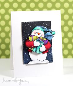 Art Impressions: Ai Shakers:Snowman Shaker (Sku#4514) use a wobble.  Handmade Christmas card.