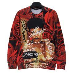 Barato 2016 inverno new fashion men / women 's 3D camisola de impressão de caracteres Rihanna rosa floral camisas de suor crewneck bordado hoodies, Compro Qualidade Hoodies & Camisolas diretamente de fornecedores da China:         Este é o tamanho da Ásia, don? t simplesmente optar pelo S/M/L,  Por favor, dê uma olhada nos dados do tamanho d
