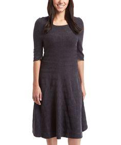 Gray Stripe Textured Midi Dress by Joy Mark #zulily #zulilyfinds