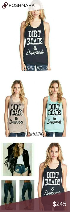 "🆕 RACER BACK BLACK &WHITE TANK BLING TOP SUPER ADORBS TANK. . MADE IN THE USA 95%RAYON/5%SPANDEX  RACER BACK,  SCOOP NECK TANK THAT SAYS ""DIRT ROADS & DIAMONDS "" GRAPHIC TEXT ON THE FRONT.  TOTALLY ADORBS TO WEAR ALONE & LAYERED UP..I LOVE JUST ADDING A SIMPLE SCARF TO THESE & YOUR FAV JEANS W/ SOME HEELS. MEASUREMENTS PROVIDED IN THE COMMENTS SECTION (✅BUNDLE 3 GET 25 % OFF ✅) Botique  Tops Tank Tops"