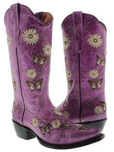 COUNTRY COWGIRLBOOTS  Rhinestone Studded Embroidered Purple Flower and Butterfly GENUINE LEATHER Snip Toe Western Boots