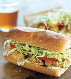 Roasted Shrimp Po' Boy Sandwich With Greek Yogurt Cole Slaw And ...