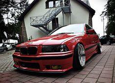Hellrot BMW e36 sedan on full polished cult classic OZ AC Schnitzer type 1 wheels