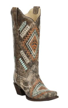 Corral Boots Women's Black with Bone Distressed Multi Color Embroidery Snip Toe Boots Cowboy boots with Aztec Print Cheap Cowgirl Boots, Western Boots, Cowboy Boots, Western Outfits, Country Boots, Cowboy Girl, Cowgirl Style, Sexy Cowgirl, Cowboys