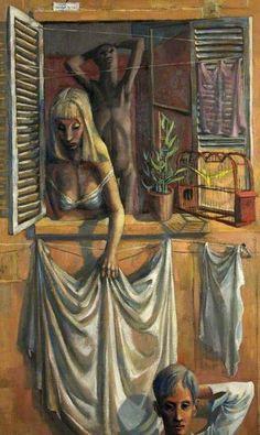 Roman Window, 1950 by Michael Ayrton (English Window Art, Open Window, Michael Roman, John Minton, Chelsea School Of Art, Royal College Of Art, Small Canvas, Art Uk, Source Of Inspiration