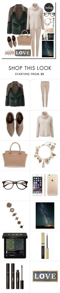 """""""Untitled #438"""" by mayer-fruzsina ❤ liked on Polyvore featuring Liska, 7 For All Mankind, Valentino, Michael Kors, Accessorize, Forever 21, Gucci, Yves Saint Laurent, Parlane and Artistica"""