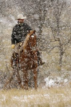 """""""The American Cowboy - Symbol of the American West"""" Photography Workshop - Cowboy in Snow by Les Voorhis - Fall 2009 Workshop - Photos from our Nature Photography Workshops O Cowboy, Cowboy Horse, Snow Scenes, Winter Scenes, Photography Workshops, Nature Photography, Cowboy Photography, Westerns, Into The West"""