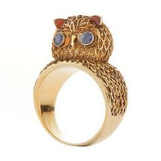 Gold Wirework Owl Ring