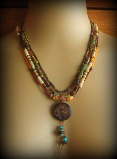 African Ethnic, Tribal, Gypsy Bohemian Beaded Necklace Yuccabloom