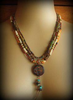 African Ethnic, Tribal, Gypsy Bohemian Beaded Necklace.  via Etsy.