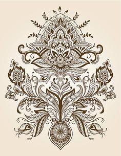 Henna Paisley レースの花のベクトル ベクターアートイラスト