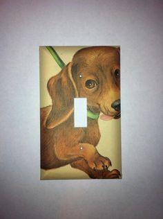 Adorable Dachshund Light Switch Cover by Hippiemysticstudio