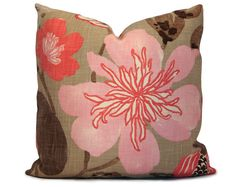 $48 Floral Pillow Cover in Pink, Coral, Taupe, Brown - Decorative Pillow - Throw Pillow - Accent Pillow - 18x18 20x20 22x22 or Lumbar