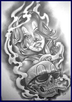 ⭐ Chicano Style Tattoo, Chicano Tattoos, Body Art Tattoos, Sleeve Tattoos, Evil Tattoos, Arte Cholo, Cholo Art, Chicano Drawings, Tattoo Drawings