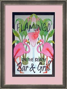 Watercolor Pink Flamingo Bar and Grill Beach Whimsical Bird Invitation Card. Personalize any greeting card for no additional cost! Cards are shipped the Next Business Day. Flamingo Painting, Flamingo Decor, Pink Flamingos, Flamingo Bathroom, Flamingo Gifts, Grilling Art, Pink Bird, Tropical Art, Tropical Beaches
