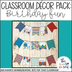 Do you have a space on your classroom wall or door where you need that perfect piece of seasonal or holiday decor? Look no further! This Birthday Decor Banner Pack has got you covered. Its fun and fresh design will bring the perfect birthday vibe to your