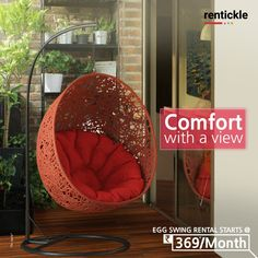Settle in with your favourite book or cup of tea and get comfortable in this deep-seated Egg Chair. Perfect for winding down after a long workday! Book Now - Thinking o Renting. Think of Rentickle! . . . #stylishswingchairs #swingchair #hangingchair #swingchairs #hangingchairs #furnitureonrent #outdoorspace #eggchairs #mychair #home #homedesign #favoritespace #outdoorseating #furniturerental #rentickle #interior #favoritechair #creativespace #interiordesign #seating