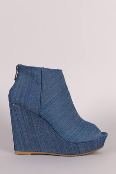 633716d233b Bamboo Denim Peep Toe Wedge Booties Wedge Sandals