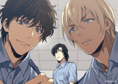 Matsuda, Rei et Hengiwara. Hot Anime Guys, Cute Anime Boy, Anime Love, Detective Conan, Police Detective, Police Story, Gosho Aoyama, Amuro Tooru, Kaito Kid