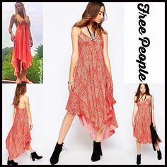 """FREE PEOPLE MAXI Tank SLIP Dress 💟NEW WITH TAGS💟 RETAIL PRICE: $88  Free People Printed Maxi Slip Dress  * A relaxed & flowy  semi pleated silhouette; Low V cut front  * Thin tank straps, V-neck, & asymmetrical hem  * A lightweight & airy fabric that is ideal for layering; Pullover style  * About 37.5""""-40"""" Long; Hits at ankles  Fabric: 100% Rayon; Machine wash Color: Clementine Combo; Item:124500  🚫No Trades🚫 ✅ Offers Considered*✅  *Please use the blue 'offer' button to submit an…"""