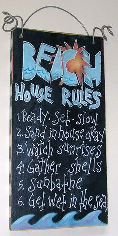"Wooden sign ""Beach House Rules"""
