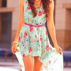 Floral print high-low dress w/ pink accent belt. WANT high low dress! Chiffon Dress, Dress Skirt, Dress Up, Floaty Dress, Silky Dress, Dress Boots, Flowy Skirt, Floral Chiffon, Floral Maxi