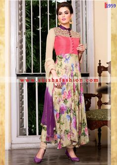 THIS BEIGE & ROSE PINK COLOR FAUX GEORGETTE FABRIC READYMADE DESIGNER SUIT