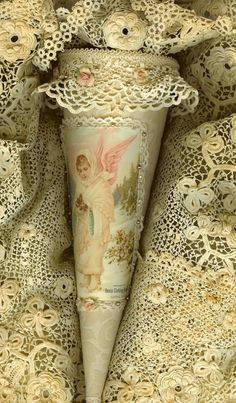 Victorian Snow Angel Lace Candy Cone. Pin under crafts or lace...decisions, decisions.