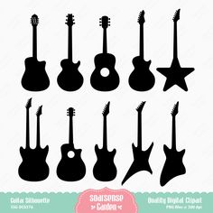Guitar Silhouette Digital Clipart by SSGARDEN on Etsy