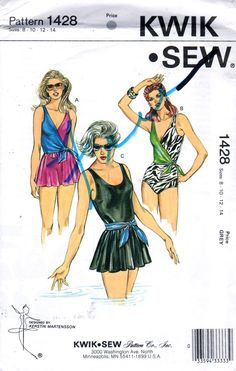 1980s  Kwik Sew 1428 1429 Misses  Swimsuit Pattern 3 by mbchills