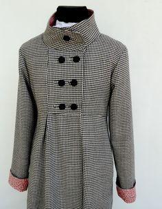 Custom Made Wool Houndstooth Swing Coat Jacket Ladies by SwingCoat, $165.00