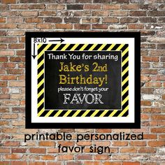 PERSONALZED FAVOR Sign Construction Theme by TwoLaughingLambs