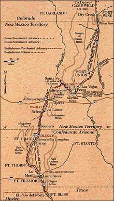 map showing the locations of Civil War skirmishes in New Mexico ....interesting read