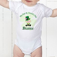 Baby's First St. Patrick's Day Outfit! This personalized St. Patrick's Day Baby onesie is adorable! Personalize it with any name and choose a boy or girl character!