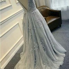 F120 scoop lace appliques beaded a line wedding dress, grey lace wedding dresses bridal gowns, top selling wedding bridal gowns