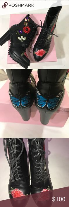 NWB Penny loves Kenny boots NWB Penny loves Kenny bootswith flower on the toe of the boot and butterfly on the heel (blue). Boots has beautiful detailing on the side of the boot (red flower, purple flower, white flower)  Heel 5' Penny Loves Kenny Shoes Ankle Boots & Booties
