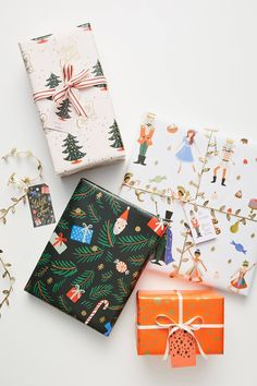 Rifle Paper Co. for Anthropologie Holiday Wrapping Book by in Assorted, Stationery Rifle Paper Co. for Anthropologie Holiday Wrapping Paper Book Design Thinking, Wrapping Paper Design, Wrapping Ideas, Gift Wrapper, Christmas Wrapping, Christmas Ornaments, Wrapping Paper Crafts, Wrapping Presents, Wrapping Papers