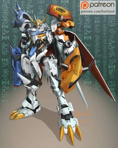 Gundam X Digimon - Gundam Barbatos Omnimon/Omegamon, Harwan Stia Yoga Mecha Anime, Art Gundam, Digimon Wallpaper, Robot Monster, Digimon Tamers, Digimon Digital Monsters, Gundam Wallpapers, Digimon Adventure Tri, Character Art