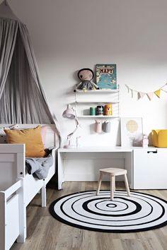 room by Katerina Paskova Scandinavian Interior Bedroom, Scandinavian Kids Rooms, Home Interior, Interior Design, Kids Desk Space, Kids Room Design, Boy Room, Child's Room, Little Girl Rooms