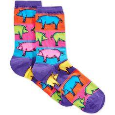 Hot Sox Women's Pop Pigs Socks ($6) ❤ liked on Polyvore featuring intimates, hosiery, socks, purple, colorful socks, hot sox socks, multicolor socks, multi color socks and purple socks