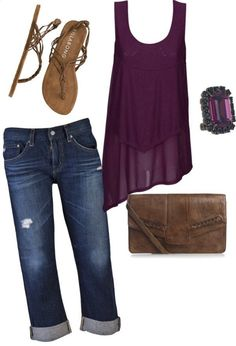 Summer Casual Dark blue capries, with a high low dark purple tank top and brown sandals with a cute brown purse! Style Outfits, Mode Outfits, Short Outfits, Casual Outfits, Casual Shorts, Denim Tunic, Denim Outfits, Crop Jeans, Stylish Clothes