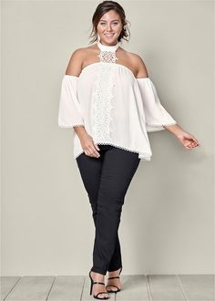 LACE CHOKER DETAIL BLOUSE, BUM LIFTER JEANS, HIGH HEEL STRAPPY SANDAL