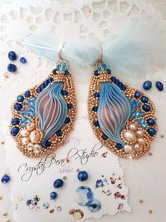 Shibori Earrings With Freshwater Pearls Swarovski Crystals