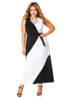 Black And White Colorblock Dresses Dress Black White Maxis