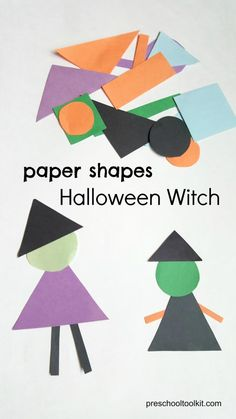 Halloween Witch Made with Paper Shapes Make a Halloween Witch with Colorful Paper Shapes - Preschool Toolkit Halloween Theme Preschool, Theme Halloween, Halloween Week, Fall Preschool, Halloween Crafts For Kids, Fall Crafts, Holiday Crafts, Halloween Witches, October Preschool Crafts