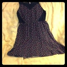 I just added this to my closet on Poshmark: Navy blue patterned dress with lace. Price: $5 Size: XL