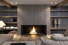 Contemporary Fireplace Decor Before And After Fireplace Makeovers Modern Fireplace Ideas . Home Fireplace, Fireplace Remodel, Living Room With Fireplace, Fireplace Surrounds, Fireplace Design, Living Room Decor, Fireplace Ideas, Fireplace Makeovers, Linear Fireplace